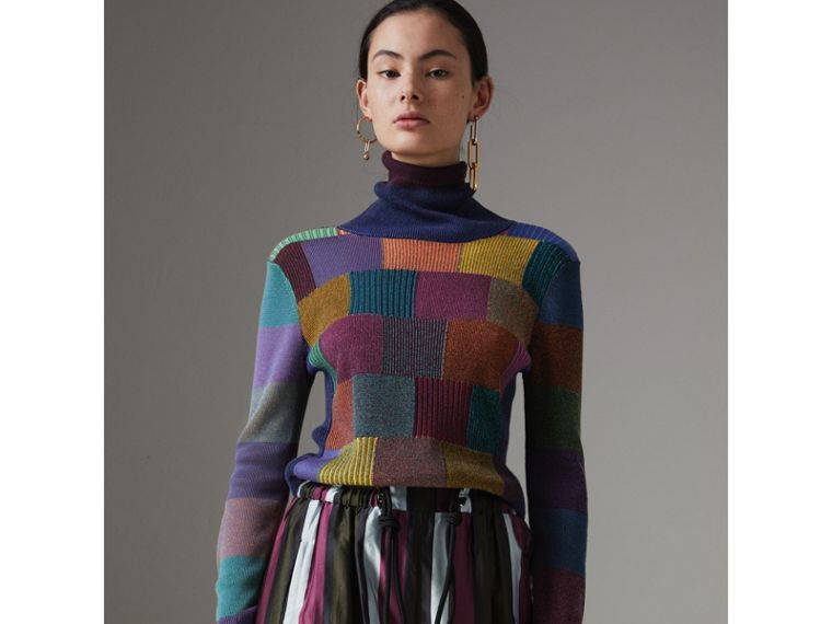Patchwork Cotton Blend Roll-neck Sweater in Amber - Women | Burberry Hong Kong - cell image 4