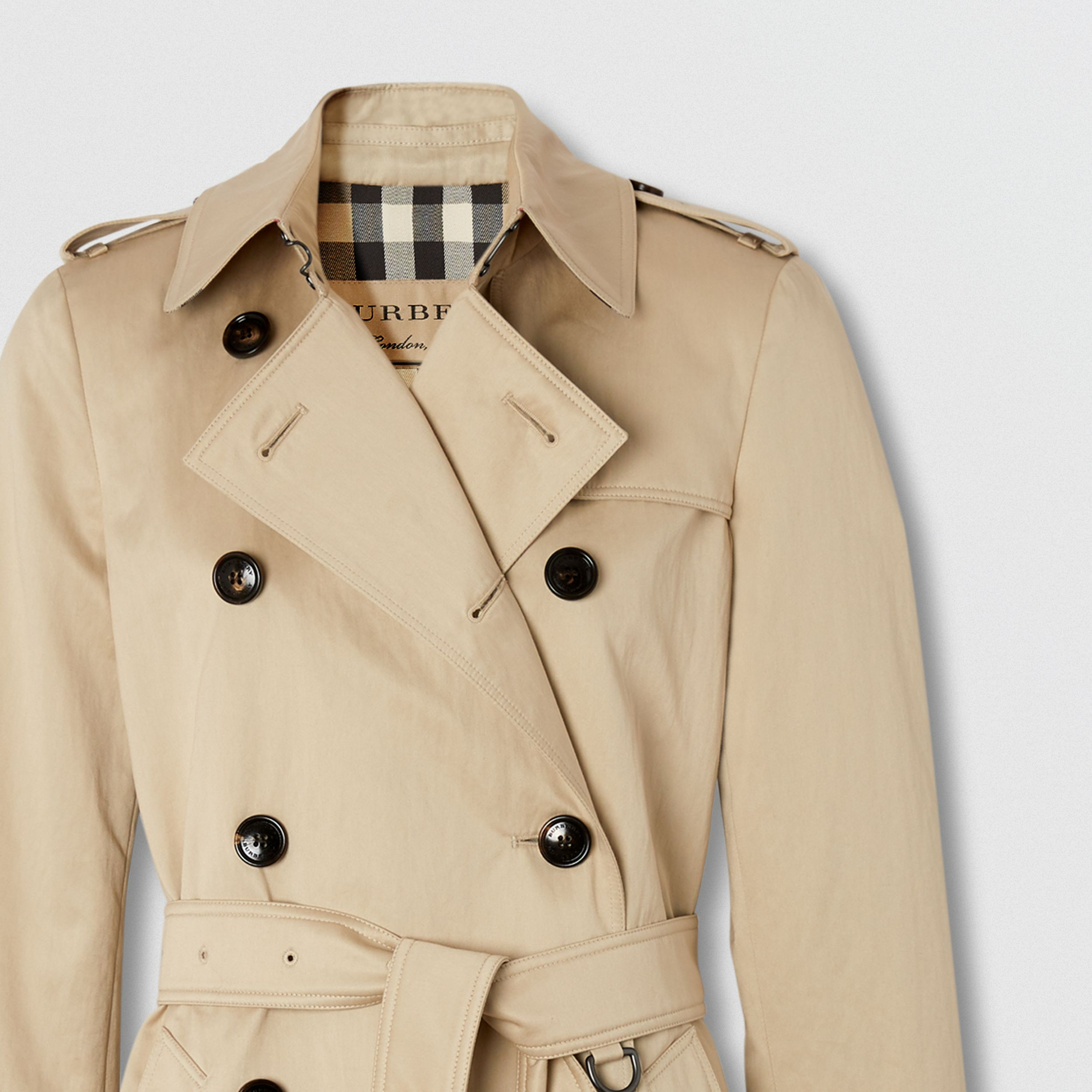 Technical Cotton Trench Coat in Stone - Women | Burberry - 2