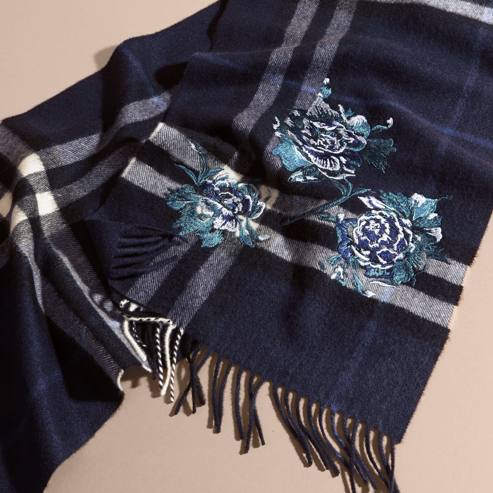 Indigo blue Oversize Peony Rose Embroidered Check Cashmere Scarf - gallery image 5