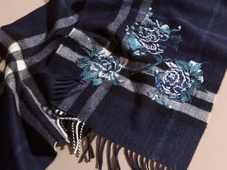 Indigo blue Oversize Peony Rose Embroidered Check Cashmere Scarf - cell image 4