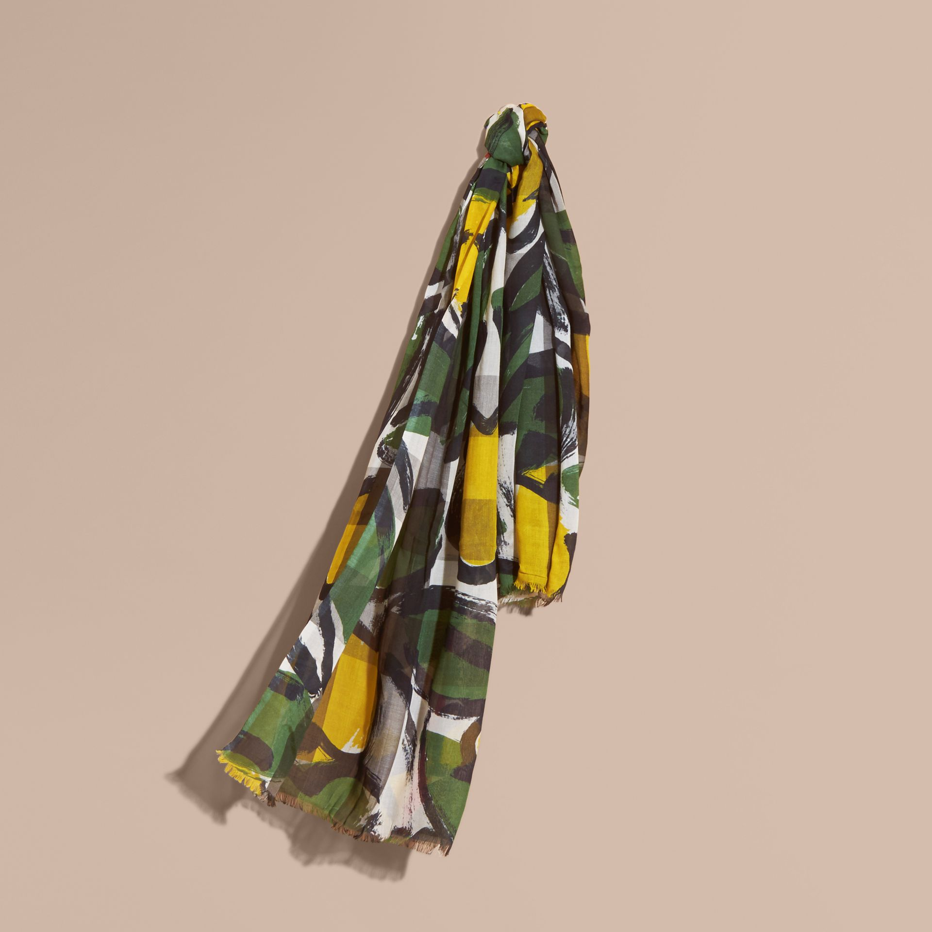 Painterly Print Check Modal, Silk and Cashmere Scarf Stone/olive Green - gallery image 1