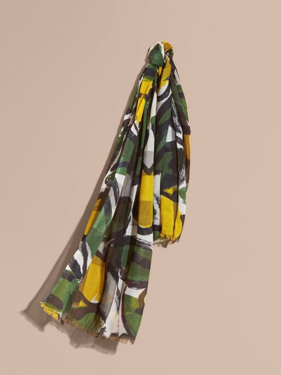 Painterly Print Check Modal, Silk and Cashmere Scarf in Stone/olive Green