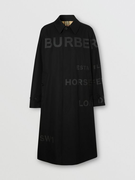 Horseferry Print Cotton Gabardine Car Coat in Black