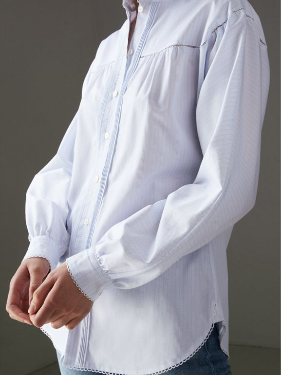 Open-stitch and Pintuck Detail Striped Cotton Shirt in Light Blue - Women | Burberry - cell image 1