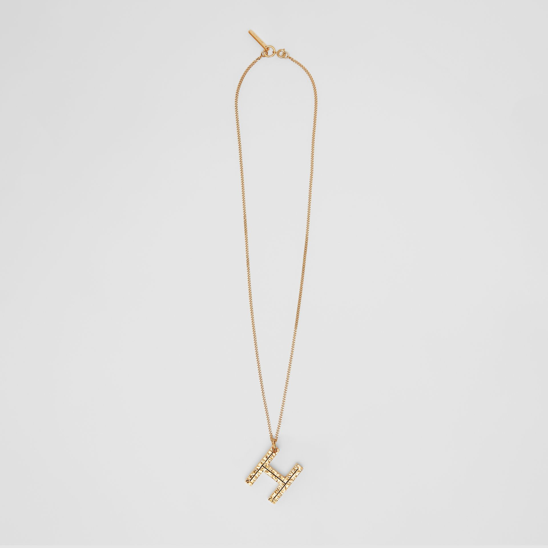 'H' Alphabet Charm Gold-plated Necklace in Light - Women | Burberry United Kingdom - gallery image 0