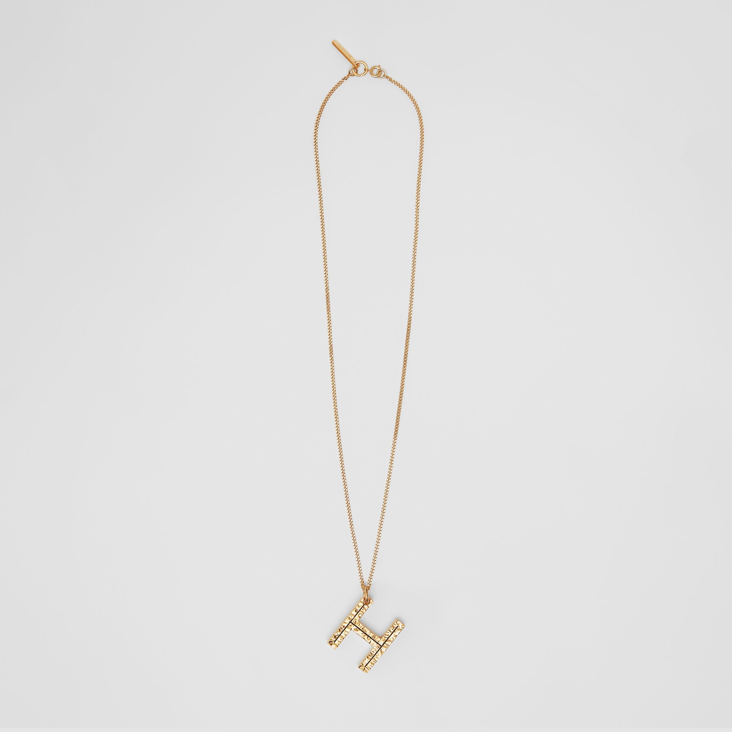 'H' Alphabet Charm Gold-plated Necklace in Light - Women | Burberry - 1