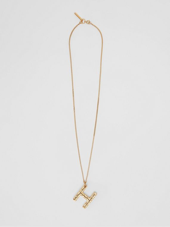 'H' Alphabet Charm Gold-plated Necklace in Light
