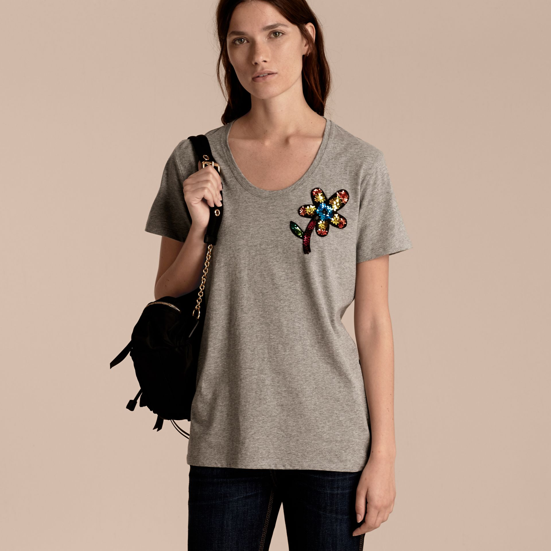 Pale grey melange Sequin Floral Appliqué Cotton T-Shirt Pale Grey Melange - gallery image 6