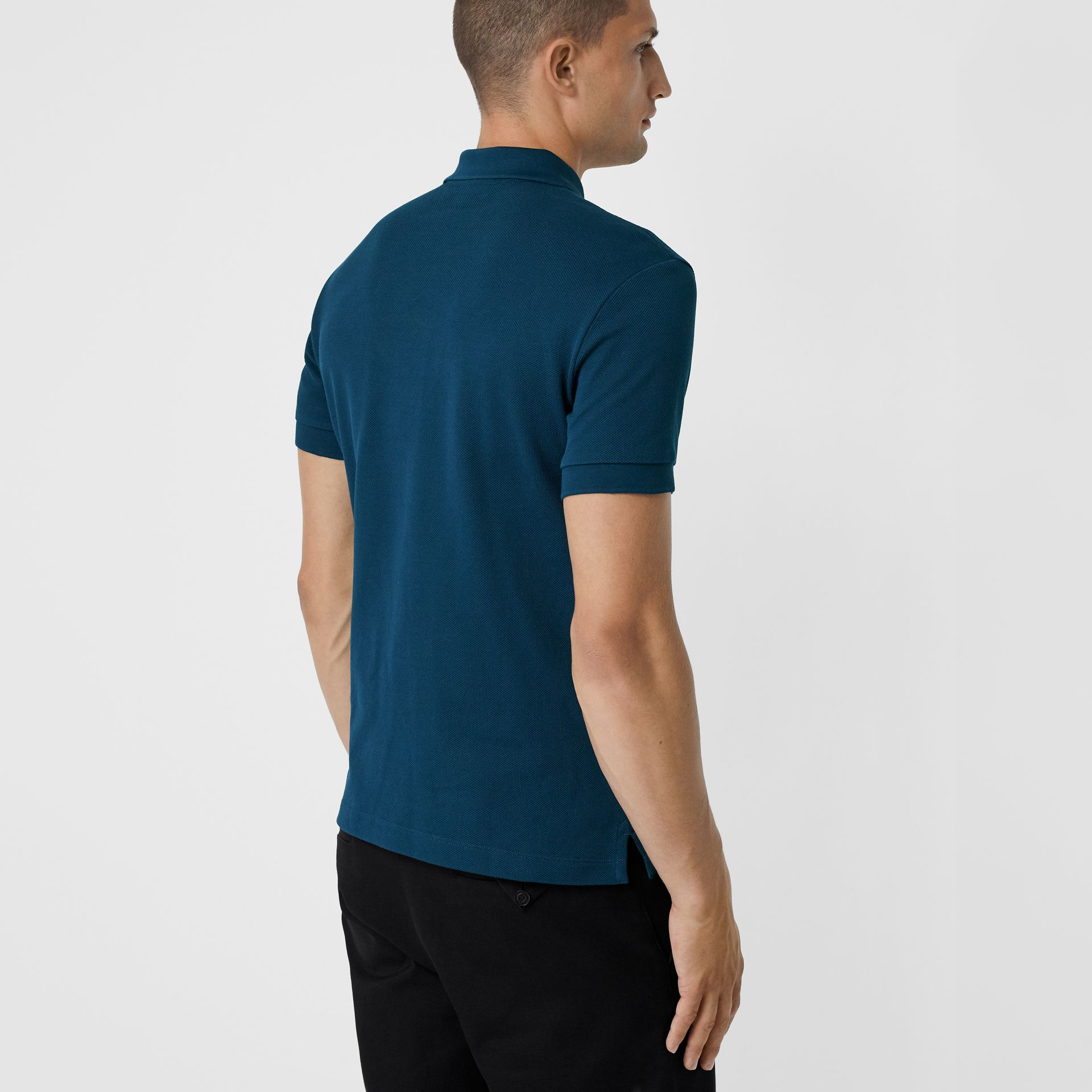 Check Placket Cotton Piqué Polo Shirt in Deep Teal Blue - Men | Burberry - gallery image 2