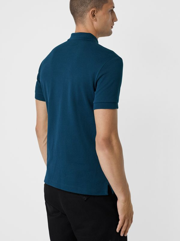 Check Placket Cotton Polo Shirt in Deep Teal Blue - Men | Burberry - cell image 2