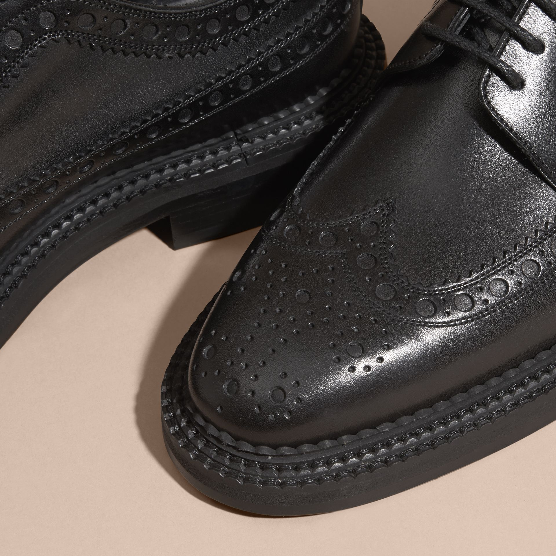 Leather Wingtip Brogues in Black - Men | Burberry - gallery image 2