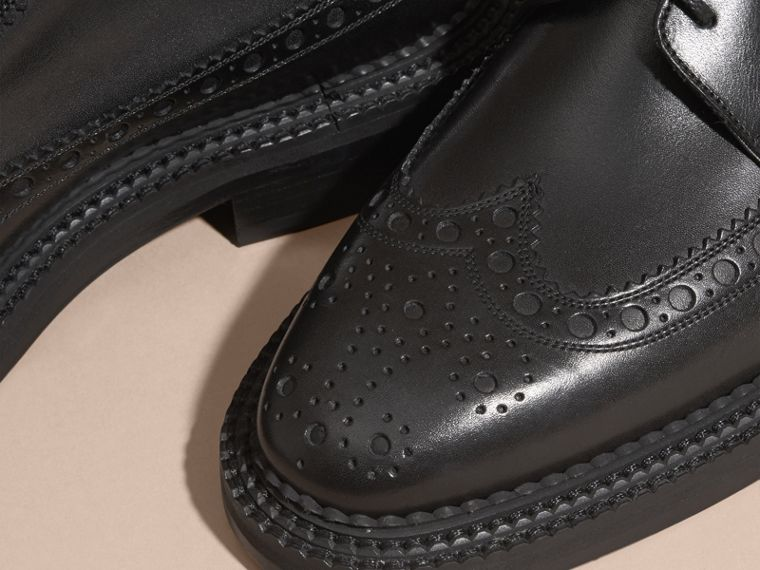 Leather Wingtip Brogues in Black - Men | Burberry Australia - cell image 1