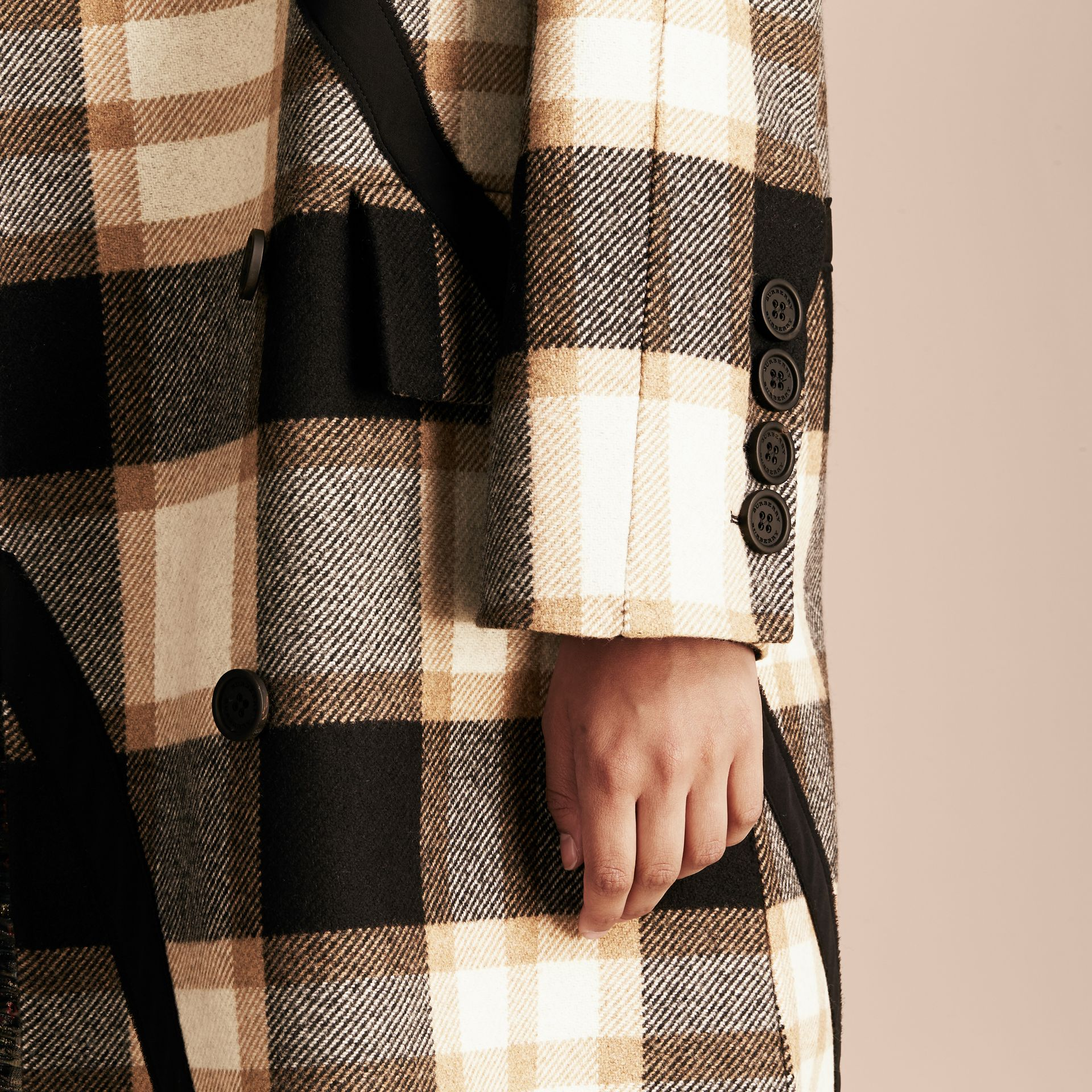 Black/camel Double-breasted Check Wool Coat - gallery image 2