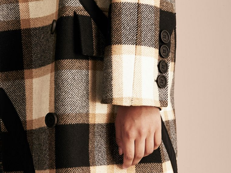 Black/camel Double-breasted Check Wool Coat - cell image 1