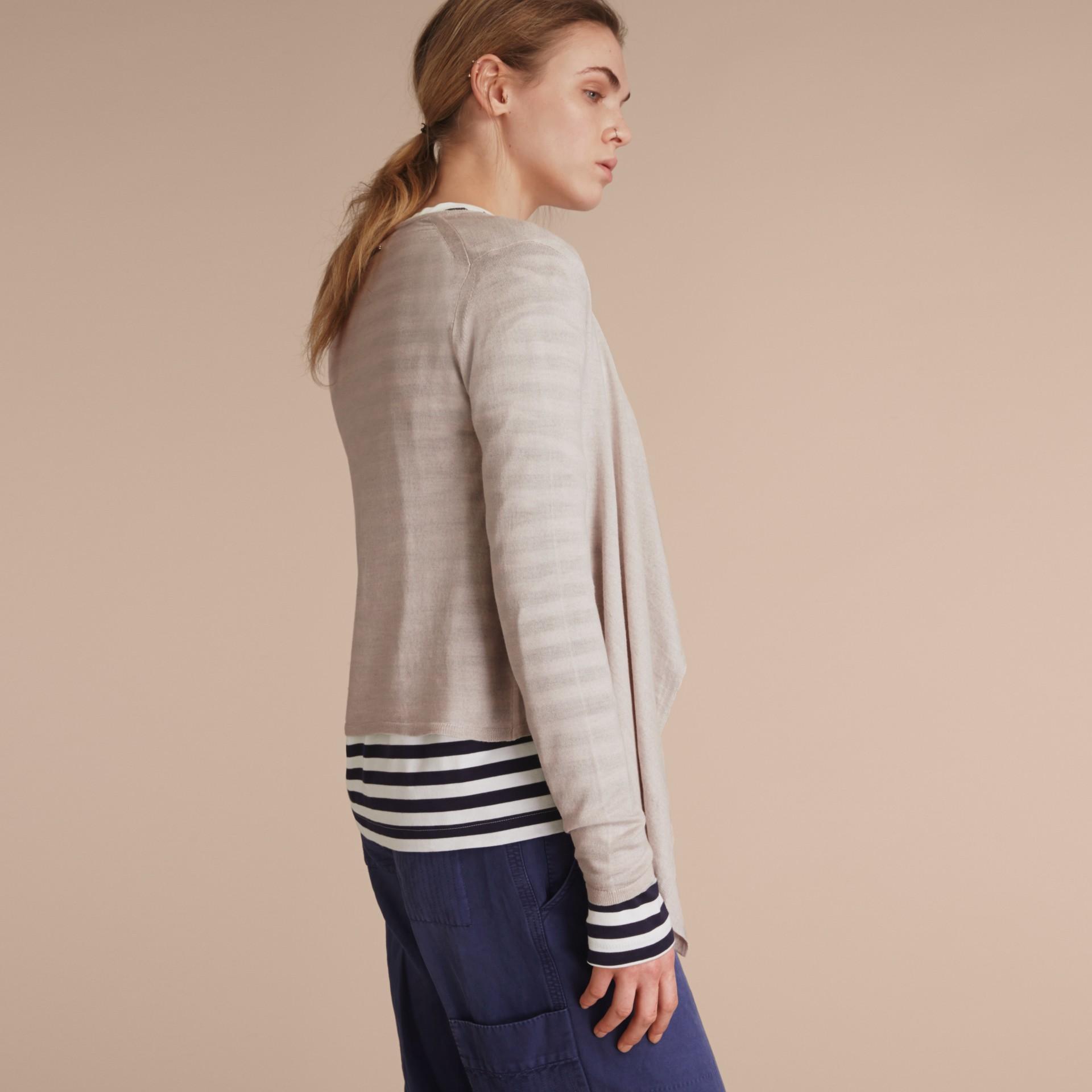 Merino Wool Silk Open Cardigan Light Grey Melange - gallery image 3