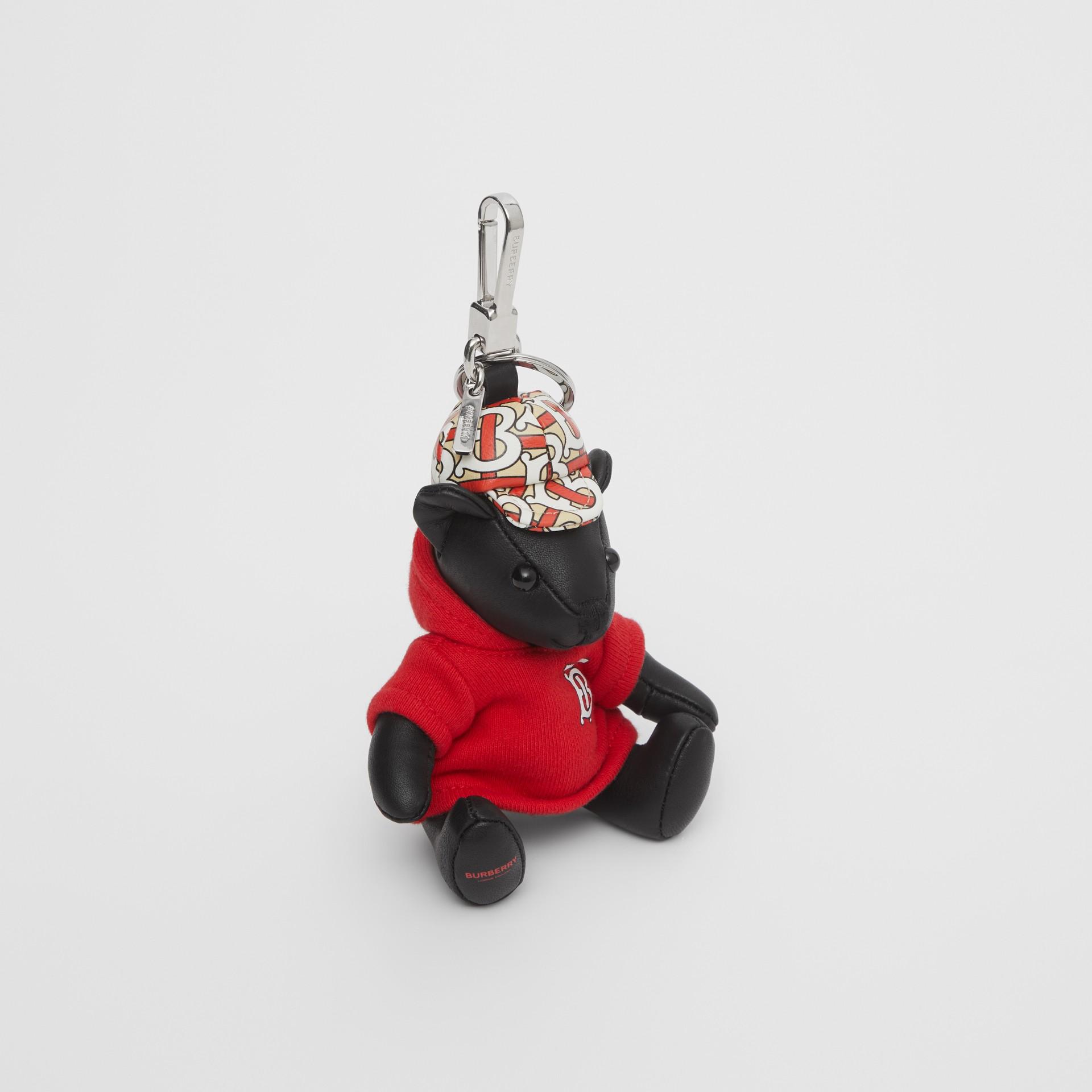 Thomas Bear Charm in Monogram Motif Hoodie in Black/red - Women | Burberry United Kingdom - gallery image 0