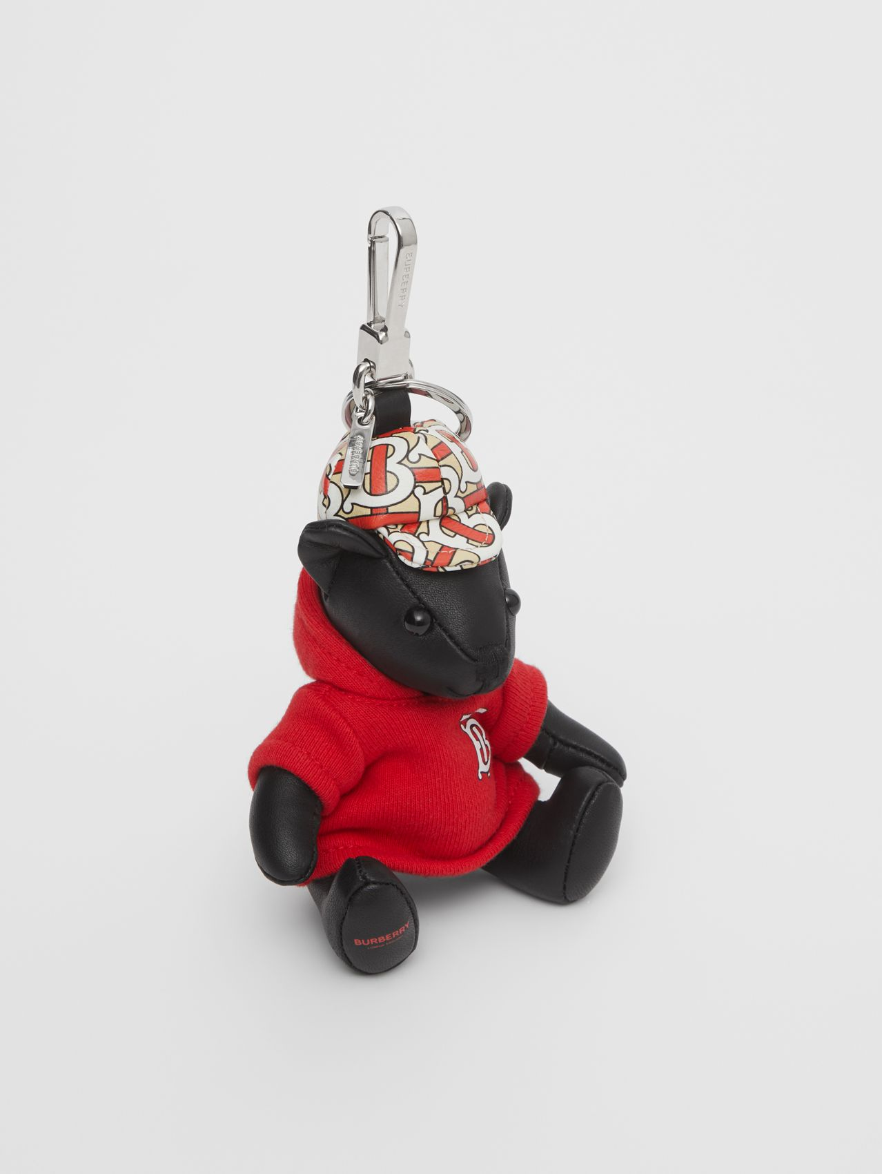 Thomas Bear Charm in Monogram Motif Hoodie in Black/red