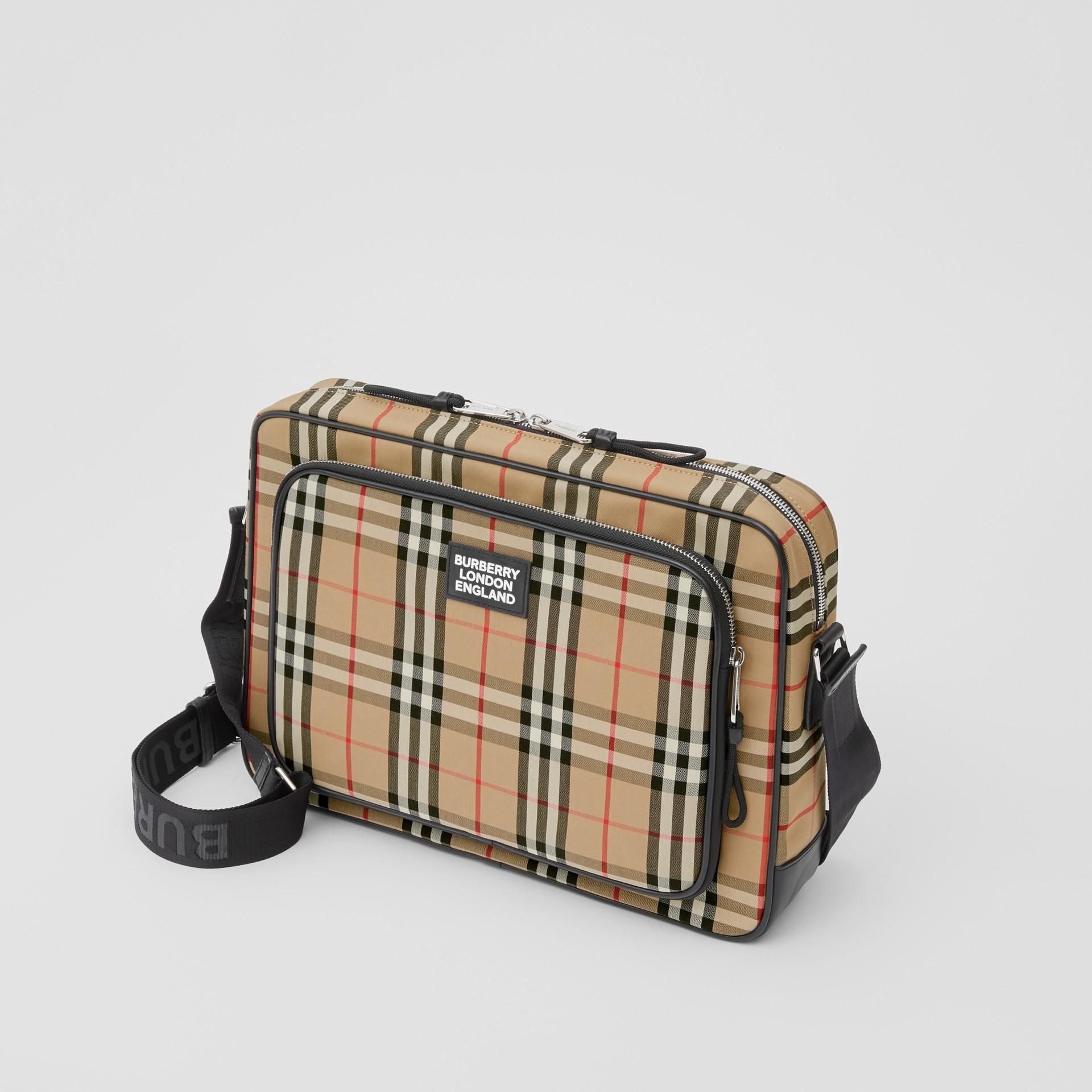 Vintage Check Cotton Messenger Bag in Archive Beige - Men | Burberry - gallery image 3