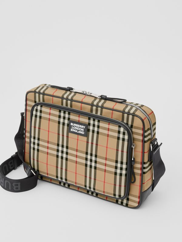 Vintage Check Cotton Messenger Bag in Archive Beige - Men | Burberry Hong Kong S.A.R - cell image 3