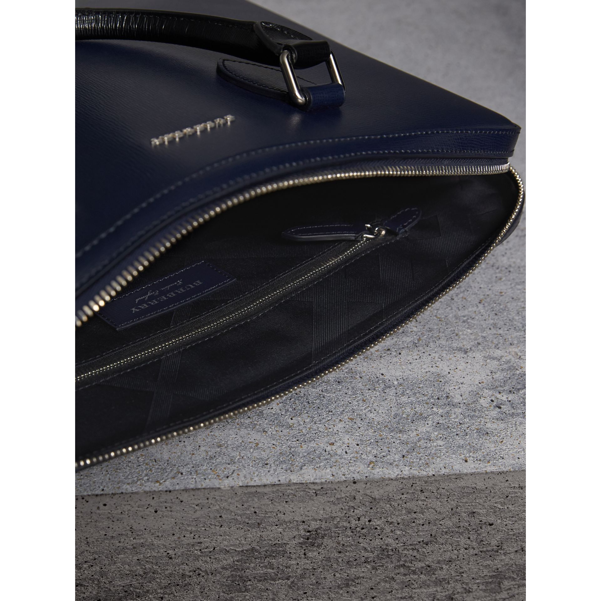 The Slim Barrow in London Leather in Dark Navy/black - Men | Burberry Australia - gallery image 6