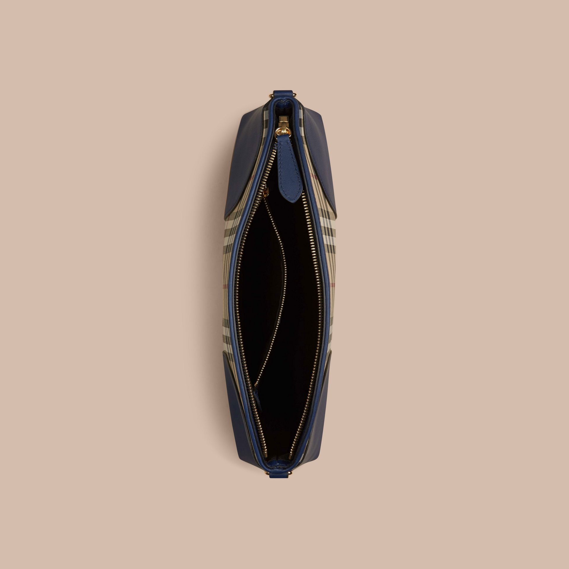 Honey/brilliant navy Horseferry Check and Leather Clutch Bag Honey/brilliant Navy - gallery image 5