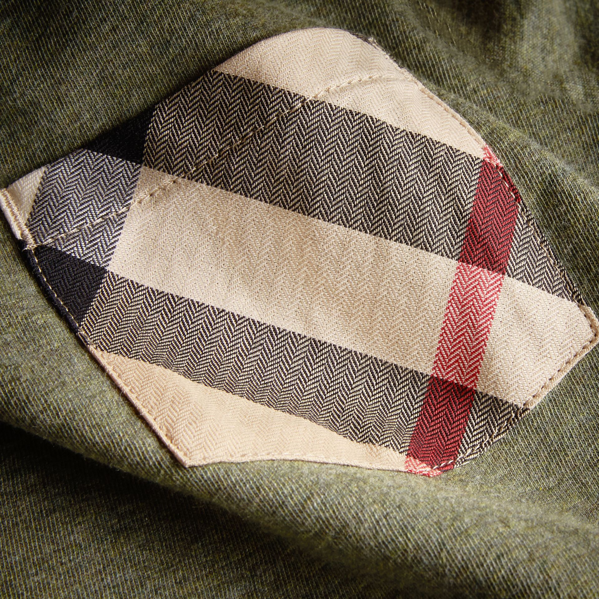 Long-sleeve Check Pocket Cotton T-shirt in Khaki Green Melange - Boy | Burberry - gallery image 1