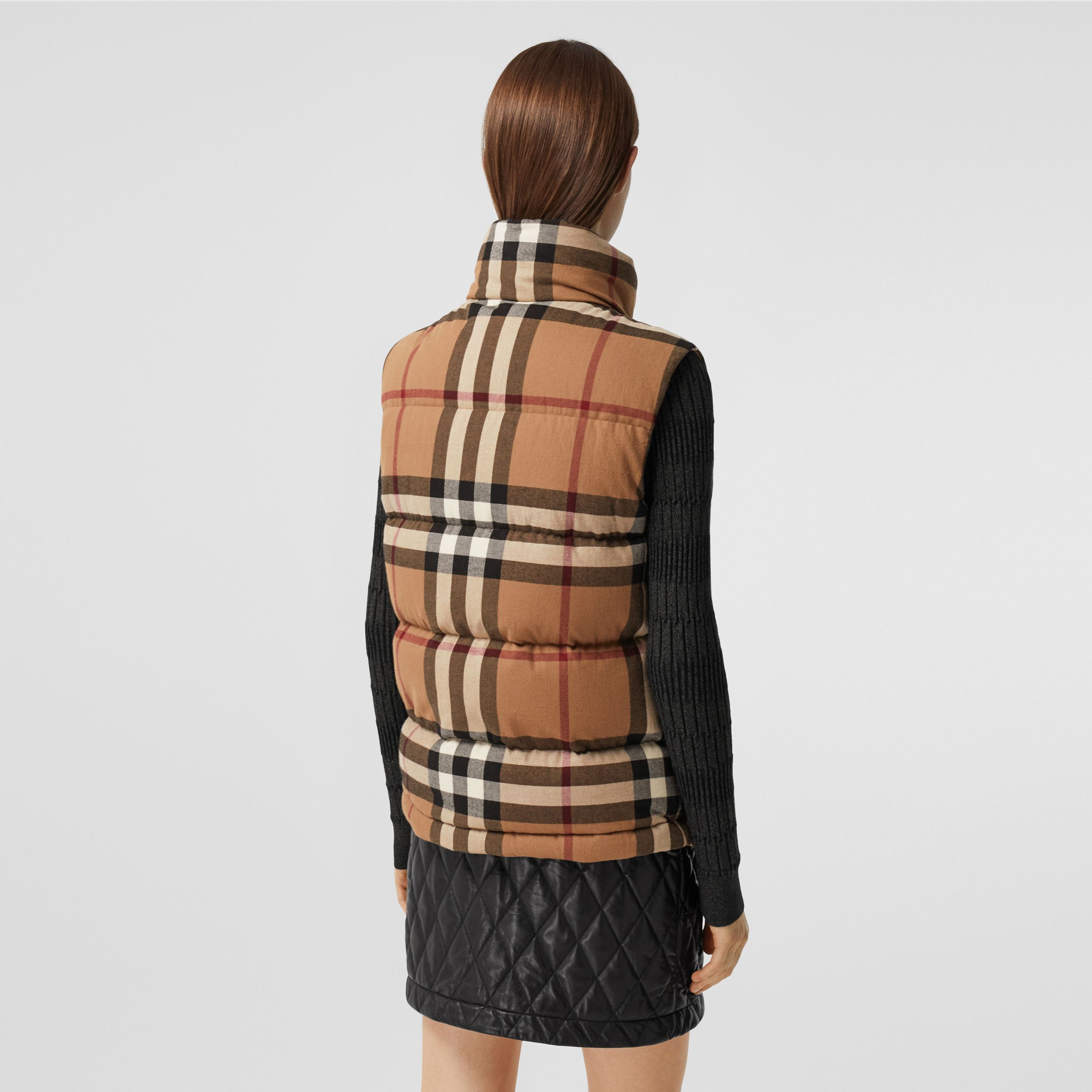 Check Cotton Flannel Puffer Gilet in Birch Brown - Women | Burberry - 3