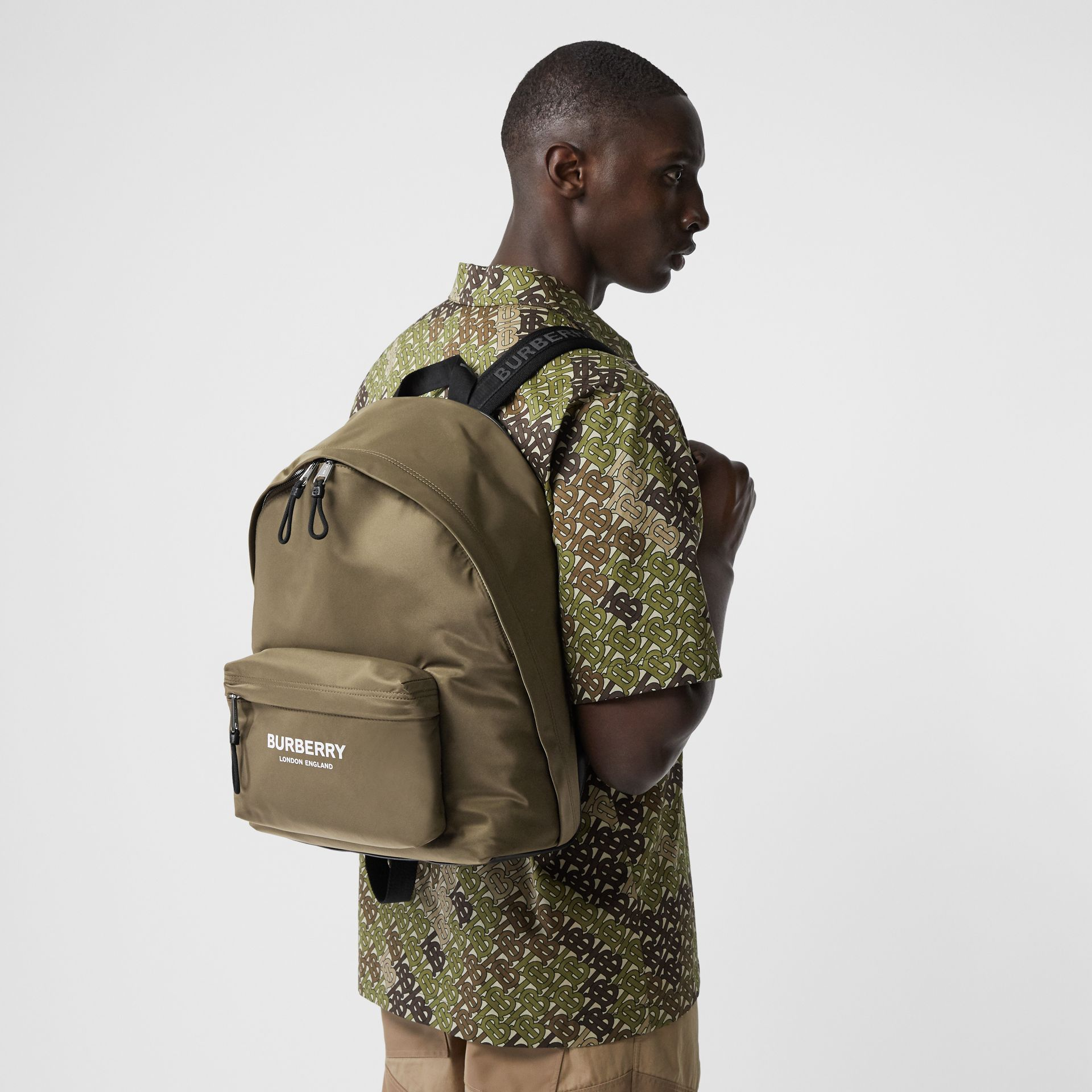 Logo Print Nylon Backpack in Canvas Green | Burberry - gallery image 1