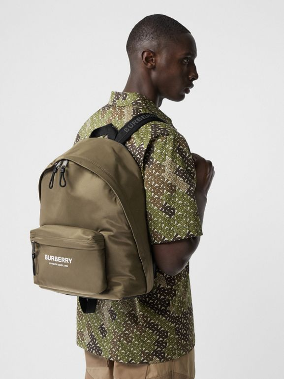 Logo Print Nylon Backpack in Canvas Green | Burberry Australia - cell image 1