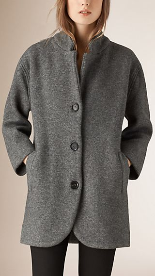 Bonded Wool Blend Cardigan Coat