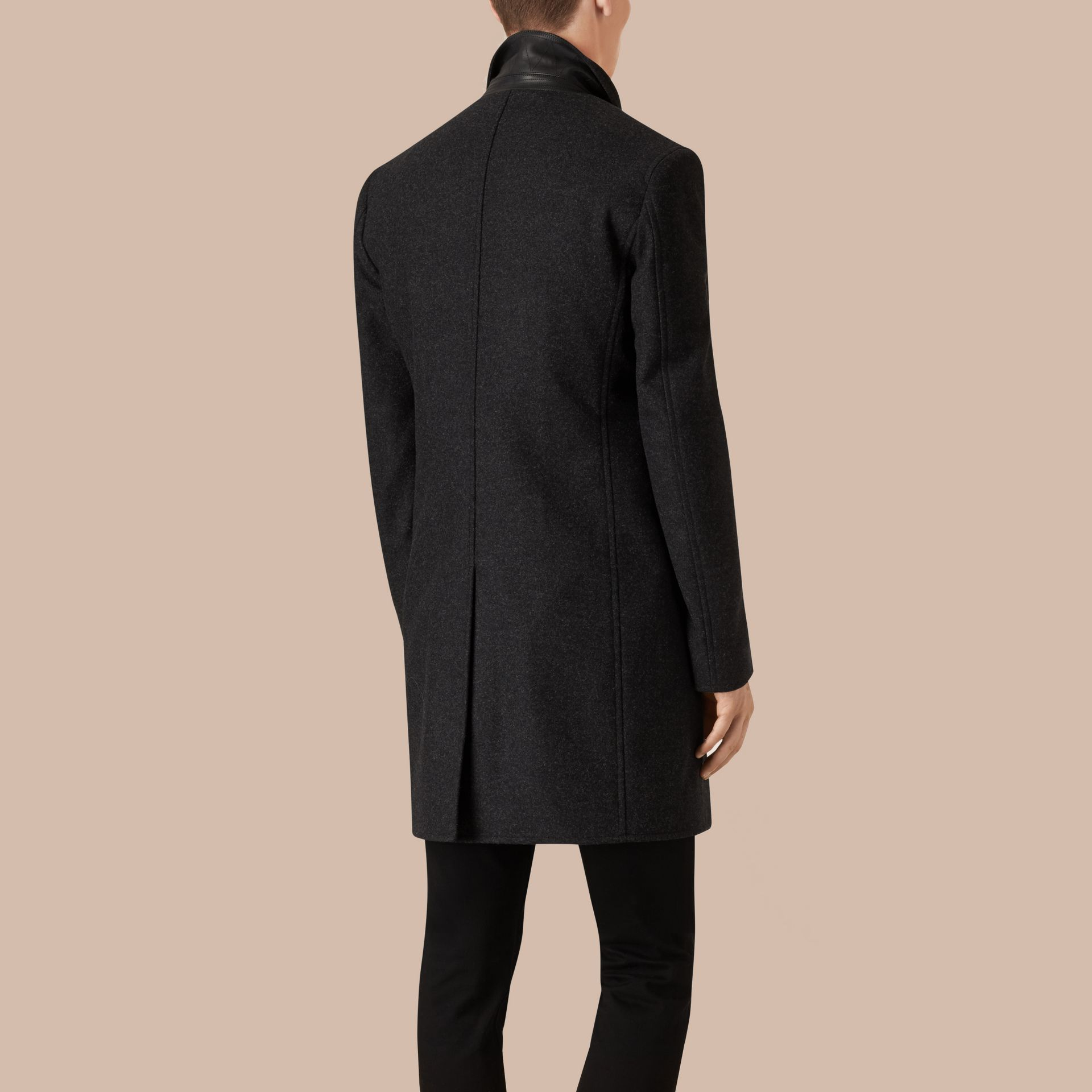 Dark charcoal melange Wool Cashmere Melton Coat with Warmer Dark Charcoal Melange - gallery image 3