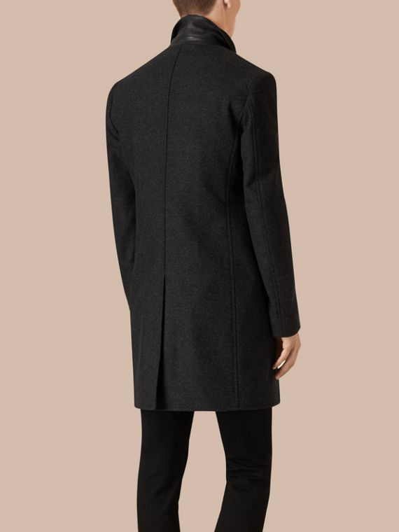Dark charcoal melange Wool Cashmere Melton Coat with Warmer Dark Charcoal Melange - cell image 2