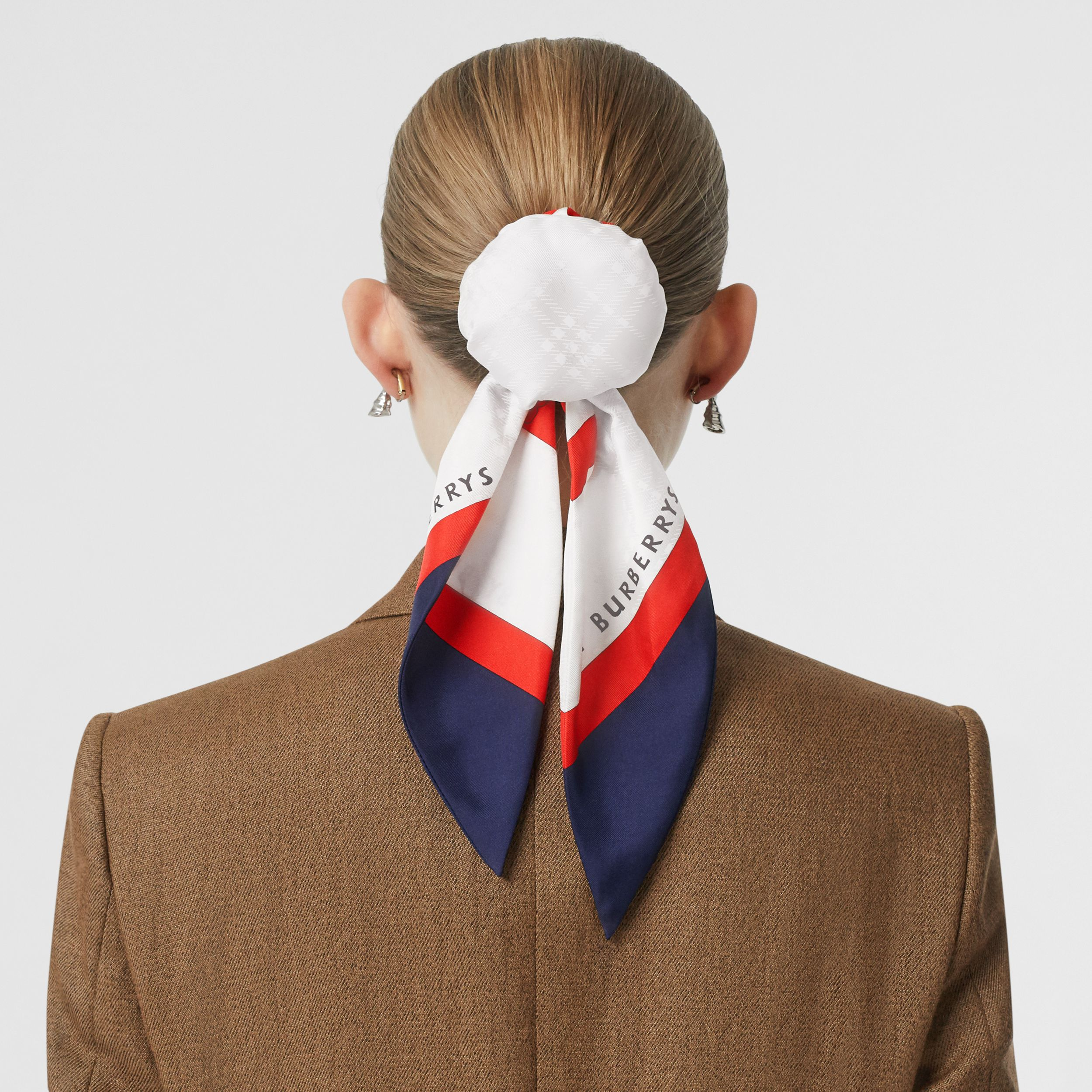 Archive Society Print Silk Hair Scarf in Navy | Burberry Australia - 3