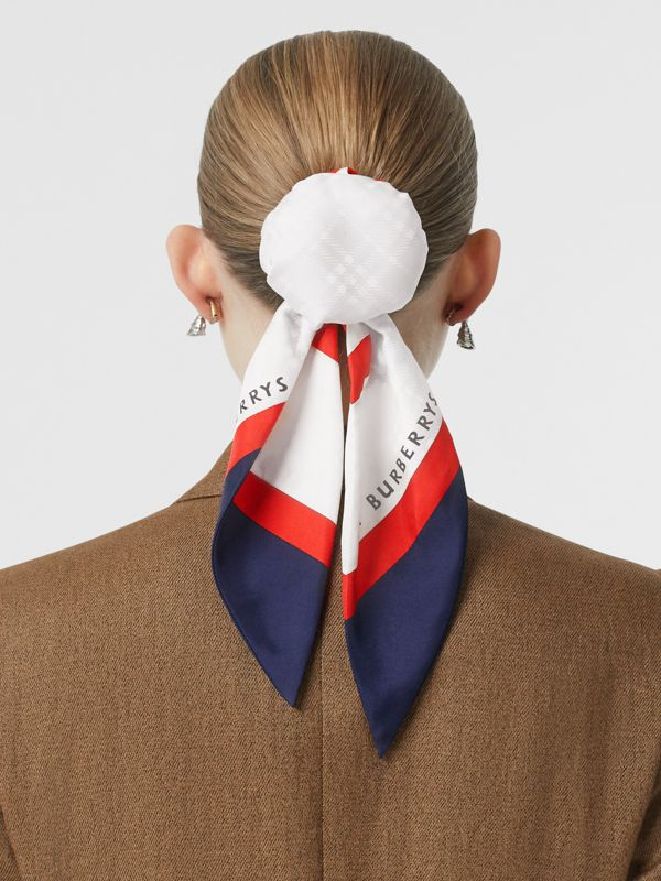 Archive Society Print Silk Hair Scarf in Navy - Women | Burberry United Kingdom - cell image 2
