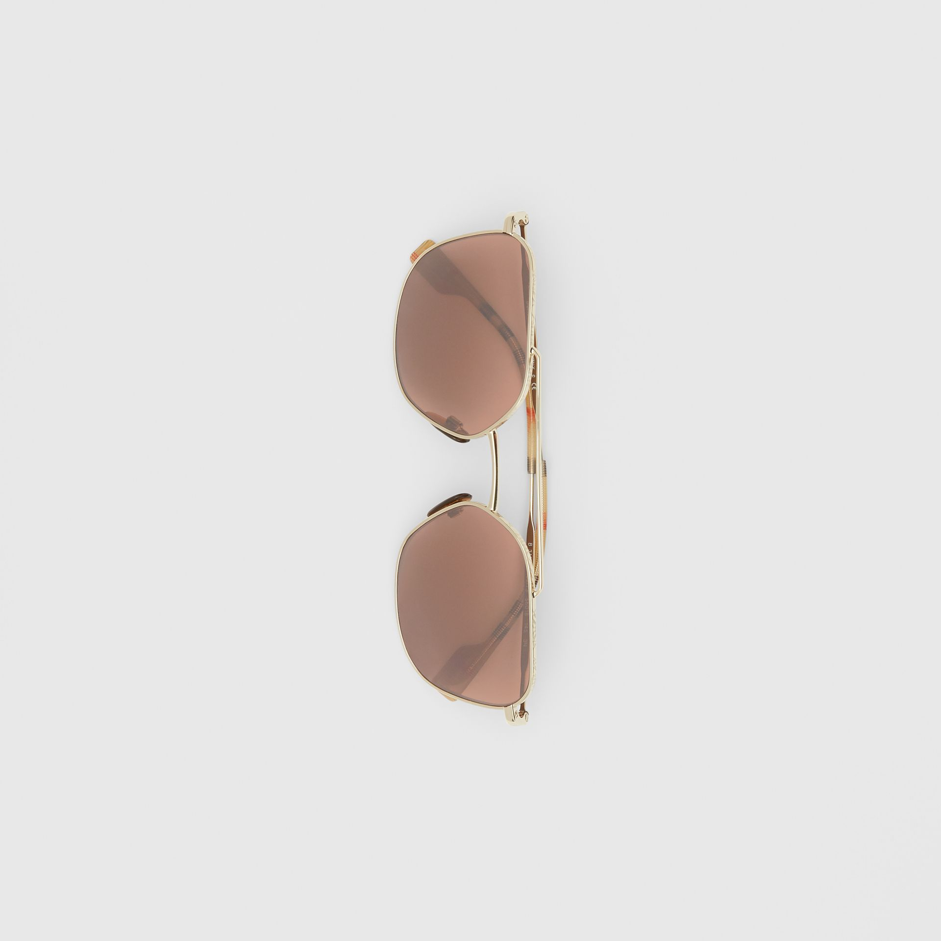 Vintage Check Detail Square Pilot Sunglasses in Yellow Gold - Men | Burberry United Kingdom - gallery image 3