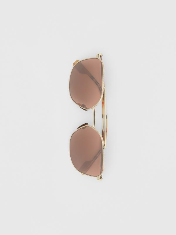 Vintage Check Detail Square Pilot Sunglasses in Yellow Gold - Men | Burberry - cell image 3