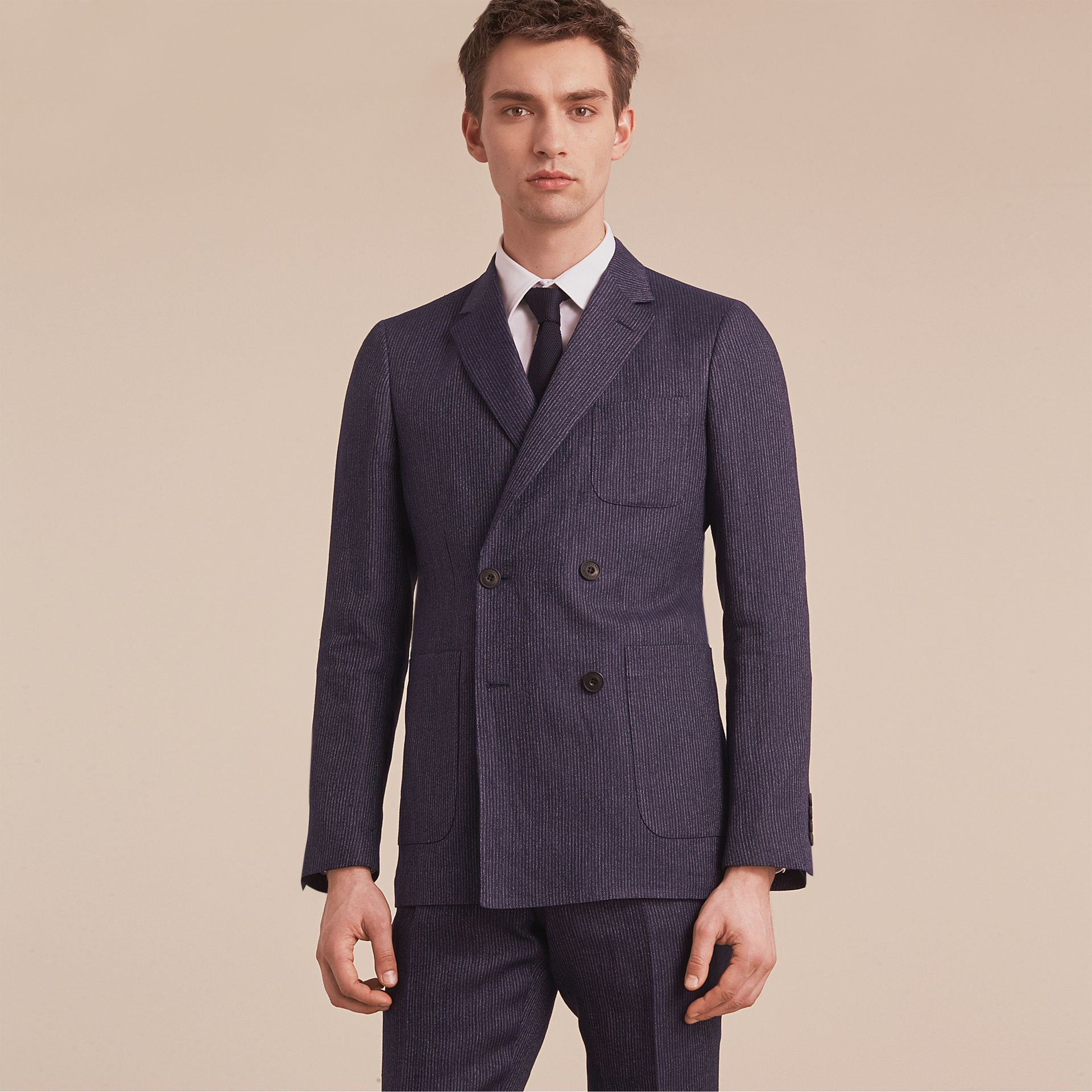 Modern Fit Part-canvas Striped Linen Silk Blend Suit - Men | Burberry - gallery image 7