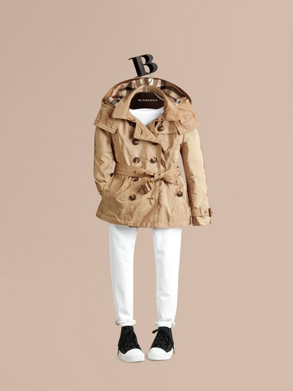 Technical Detachable Hood Trench Coat in Sisal - Girl | Burberry - cell image 2