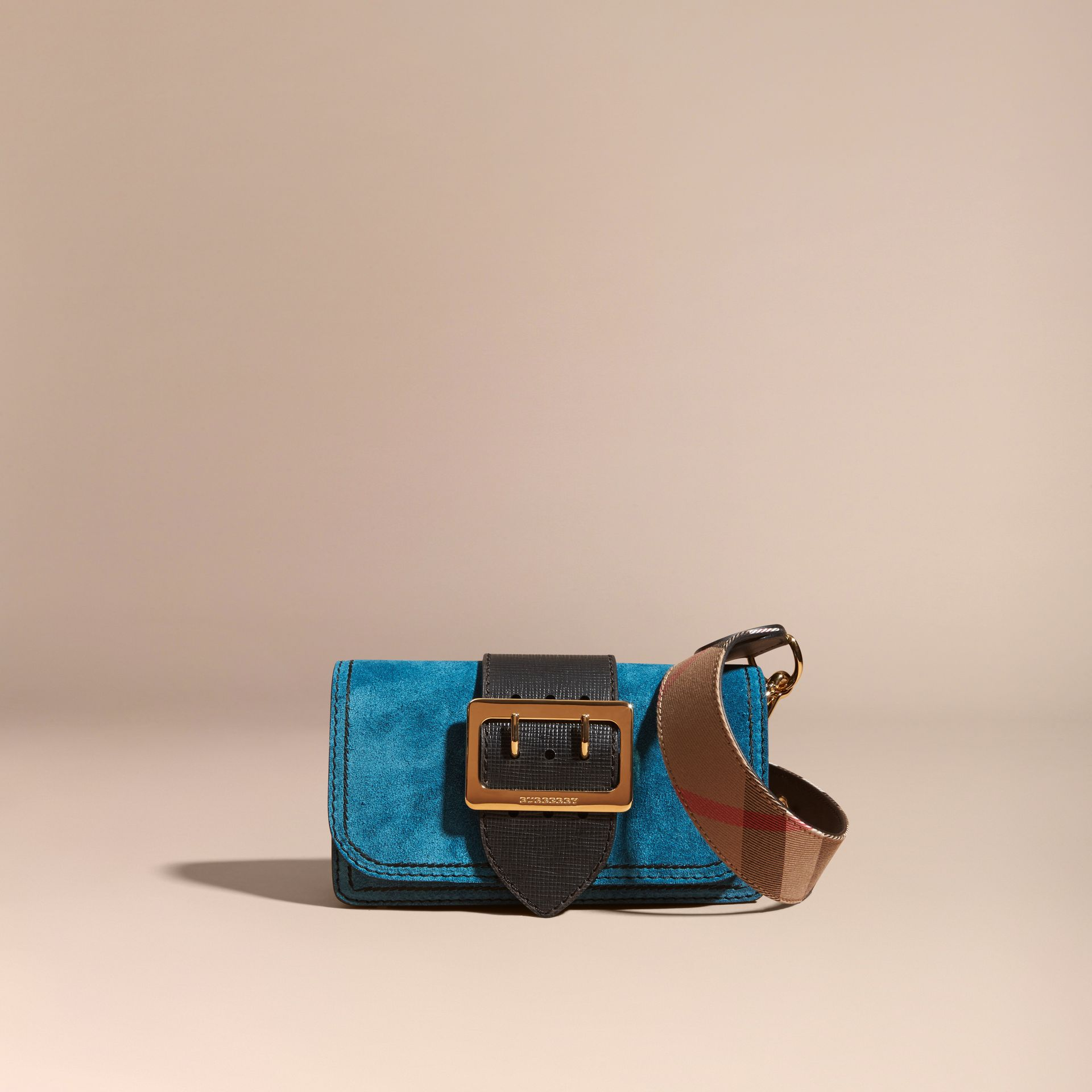The Small Buckle Bag in Suede with Topstitching Peacock Blue /black - gallery image 9