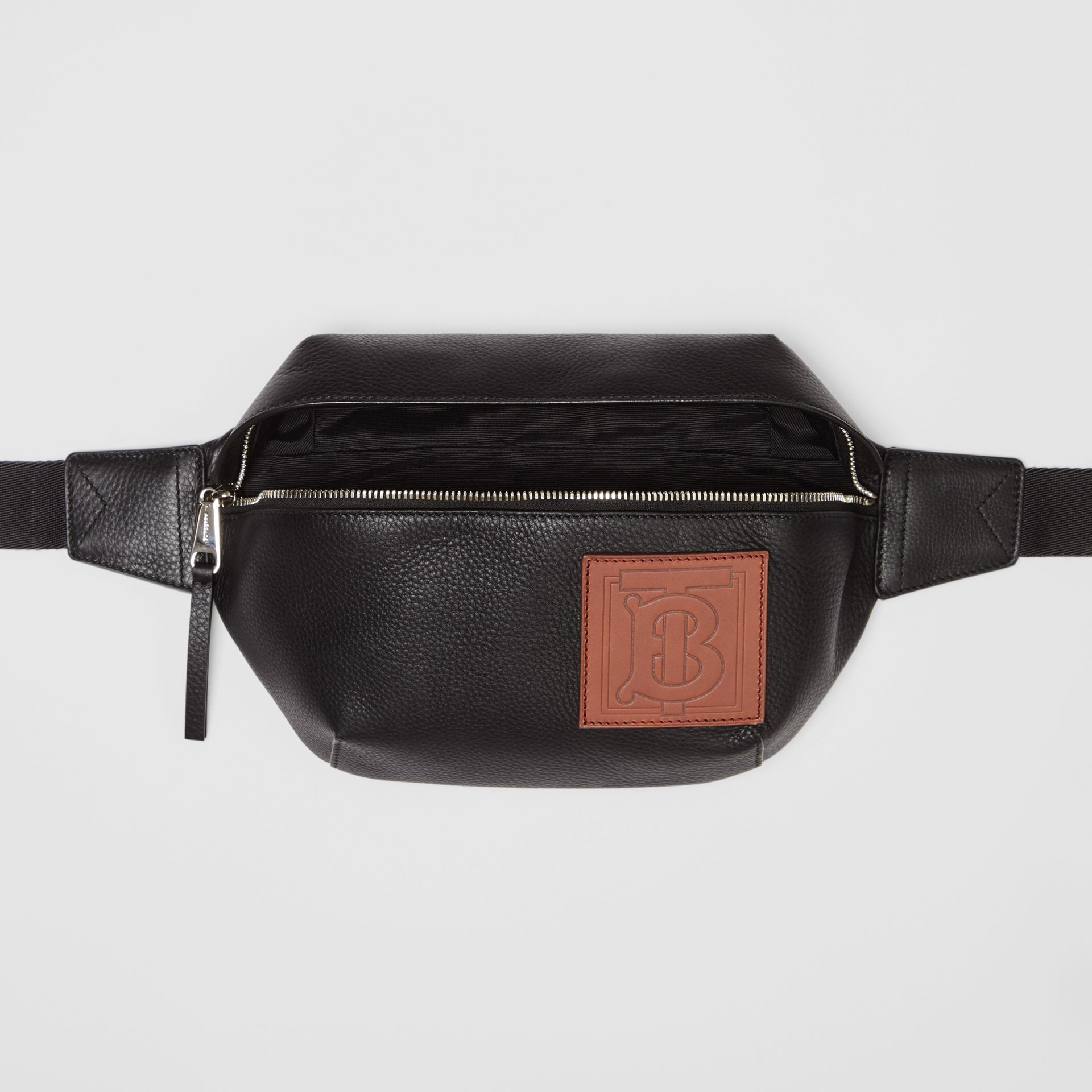 Medium Monogram Motif Leather Bum Bag in Black | Burberry - gallery image 3