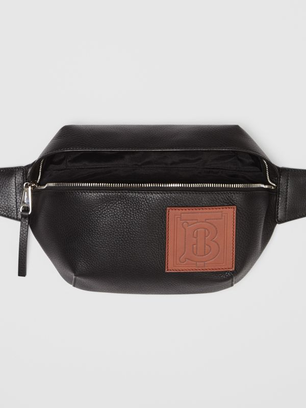 Medium Monogram Motif Leather Bum Bag in Black | Burberry - cell image 3