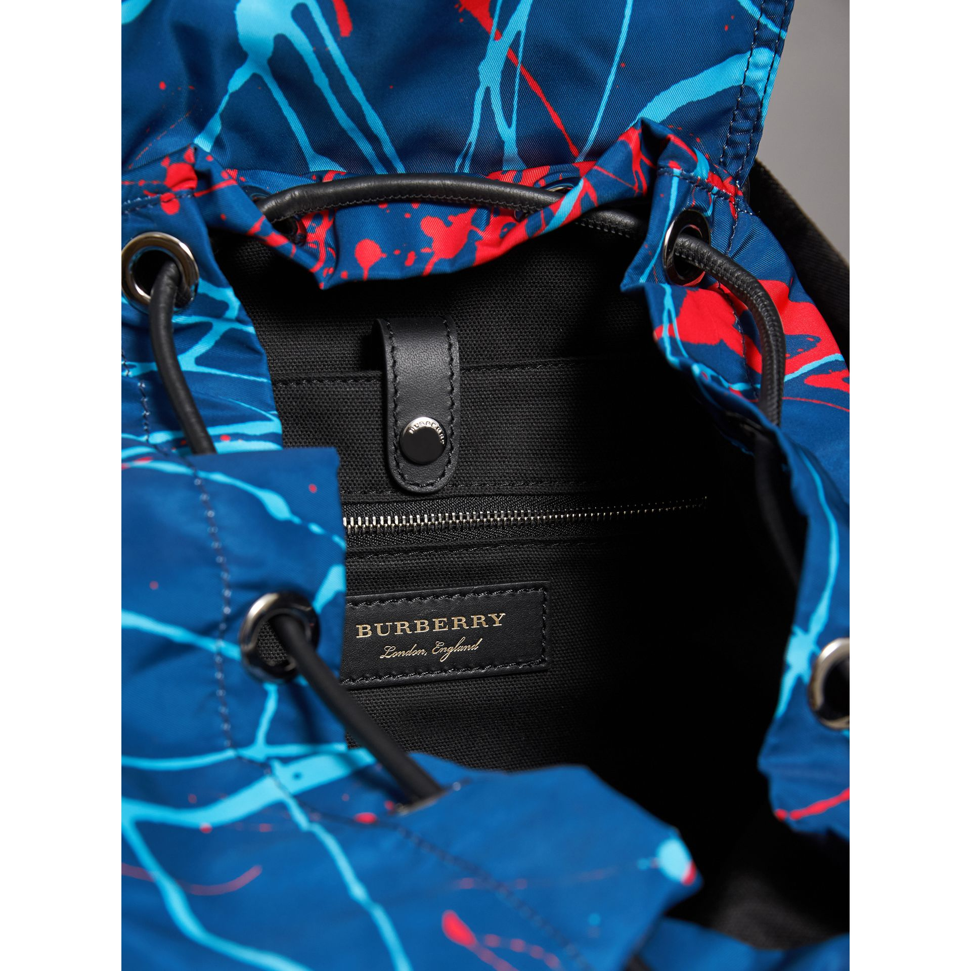 The Large Rucksack in Splash Print in Navy/orange - Men | Burberry - gallery image 4