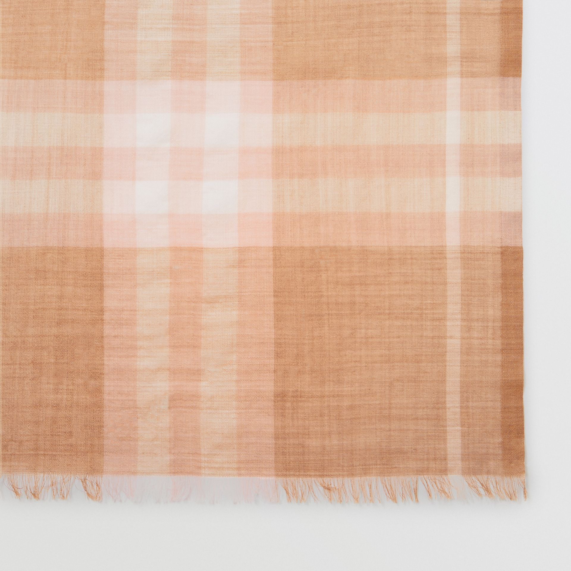 Lightweight Check Wool and Silk Scarf in Fawn | Burberry - gallery image 1