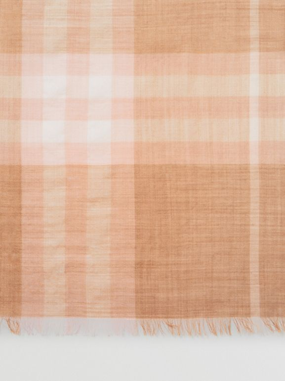 Lightweight Check Wool and Silk Scarf in Fawn | Burberry - cell image 1