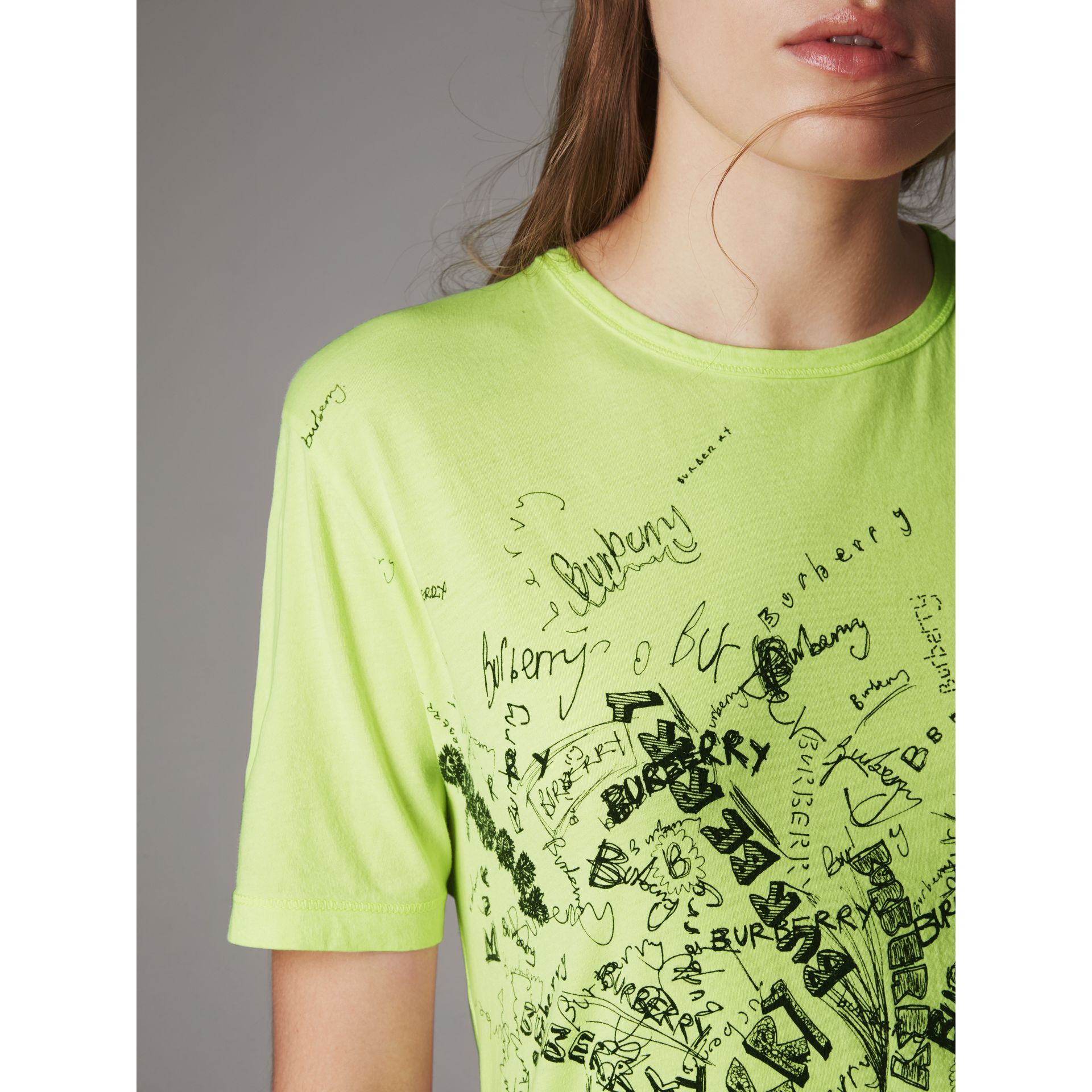 Doodle Print Cotton T-shirt in Bright Lemon - Women | Burberry - gallery image 1