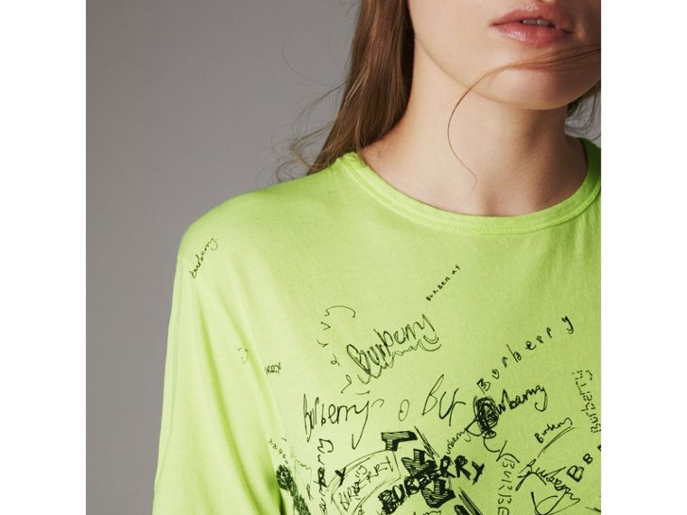 Doodle Print Cotton T-shirt in Bright Lemon - Women | Burberry - cell image 1