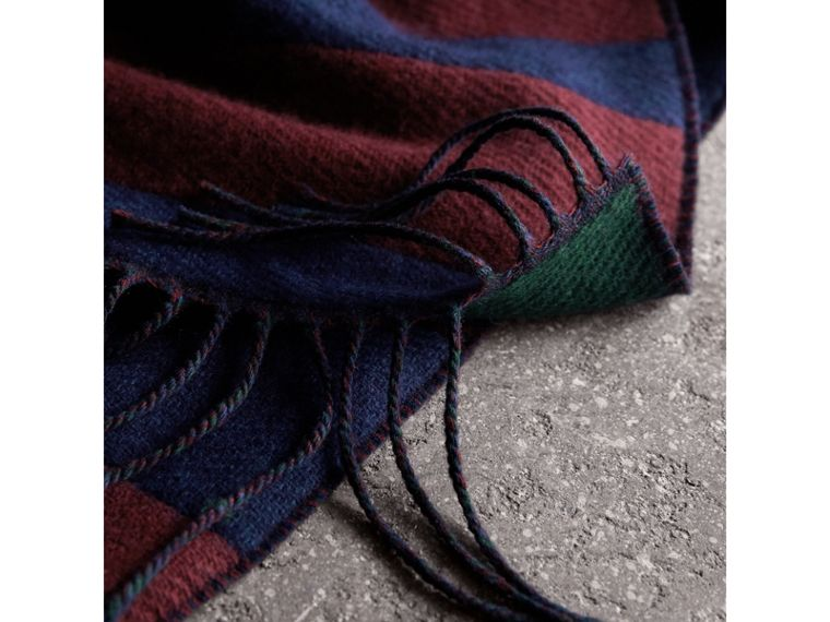 Colour-block Striped Wool Cashmere Scarf in Claret/navy | Burberry - cell image 1