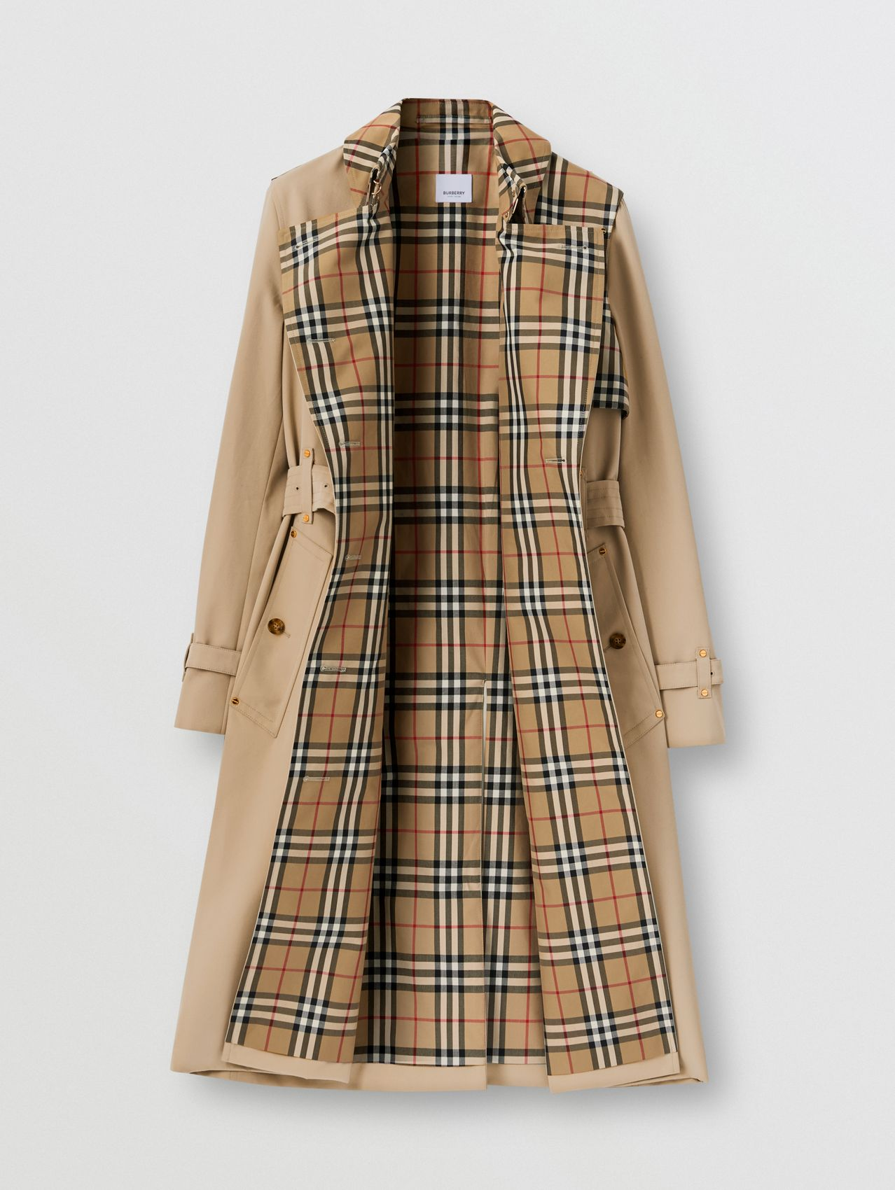 Vintage Check Panel Cotton Gabardine Trench Coat in Honey