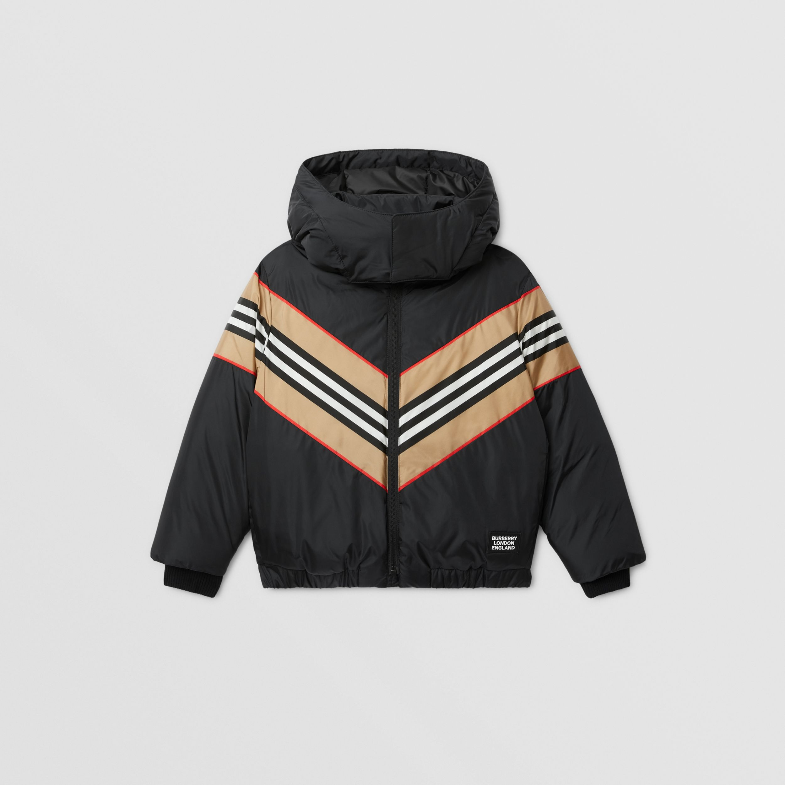 Logo Appliqué Icon Stripe Panel Down-filled Jacket in Black | Burberry - 1