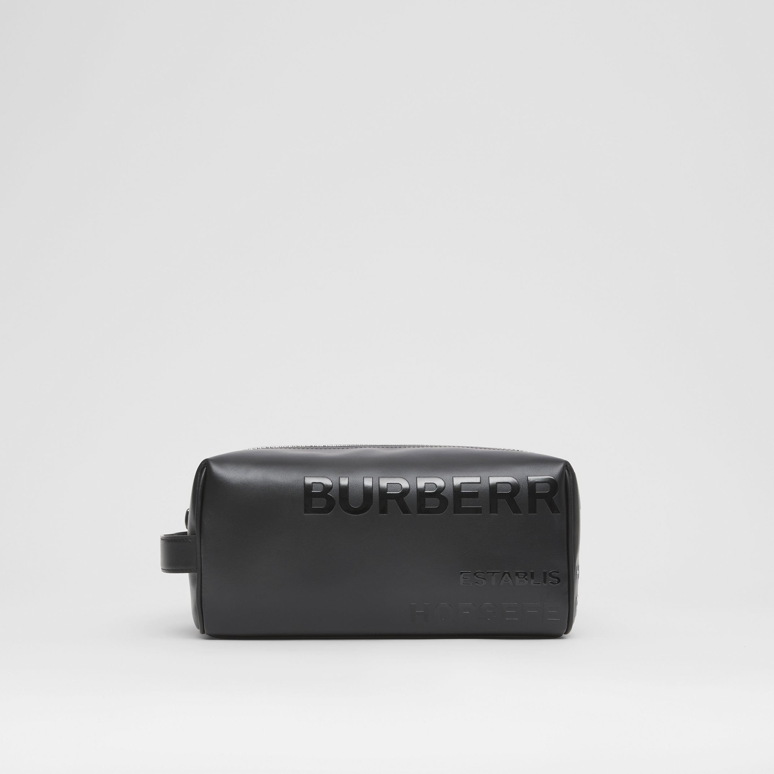 Horseferry Print Leather Travel Pouch in Black - Men | Burberry - 1